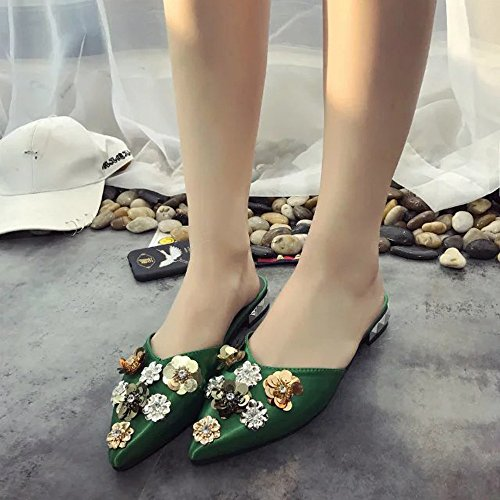 KHSKX-Spring And Summer Women'S Shoes And Satin Slippers Simple Embroidered Lazy Shoes Floral Water Drill Half Slippers Thirty-six viWwmos