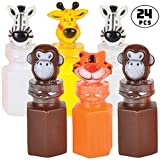 Bulk Animal Bubbles - (Pack Of 24) Assorted Zoo Characters Mini Bubble Bottles, For Safari, Jungle, Baby Shower Themed, Birthday Party Favors, Goody Bags, For Kids By Bedwina