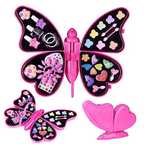 Girl, Little Girls Makeup Set and Nail Art, Kids Washable Makeup Set with Mirror - All-in-one Fully Beauty Fashion Kit ()