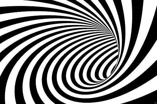 GREAT ART Wall Decoration 3D Black and White Tunnel - Modern Design Wallpaper Doppler Effect Poster Tunnel Optic Mural (55 Inch x 39.4 Inch)