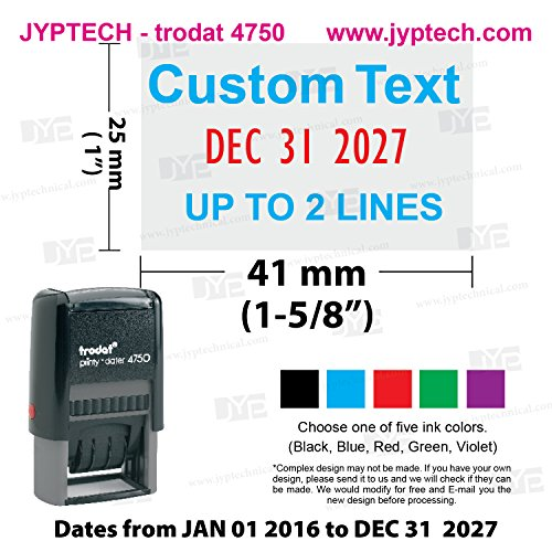 Trodat 4750 # Self-inking Date Stamp with Custom 2 Line of 2 Color Text