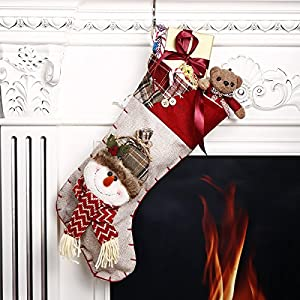 "Codream 18"" Christmas Stockings Burlap Stocking 3D Christmas Snowman Classic Holiday Stocking Festive Adorable Hanging Decorations"