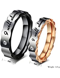 His & Her Stainless Steel Couple Matching Rings Band Set for Promise Engagement Wedding Valentine's Day Gift ( I will always be with you )