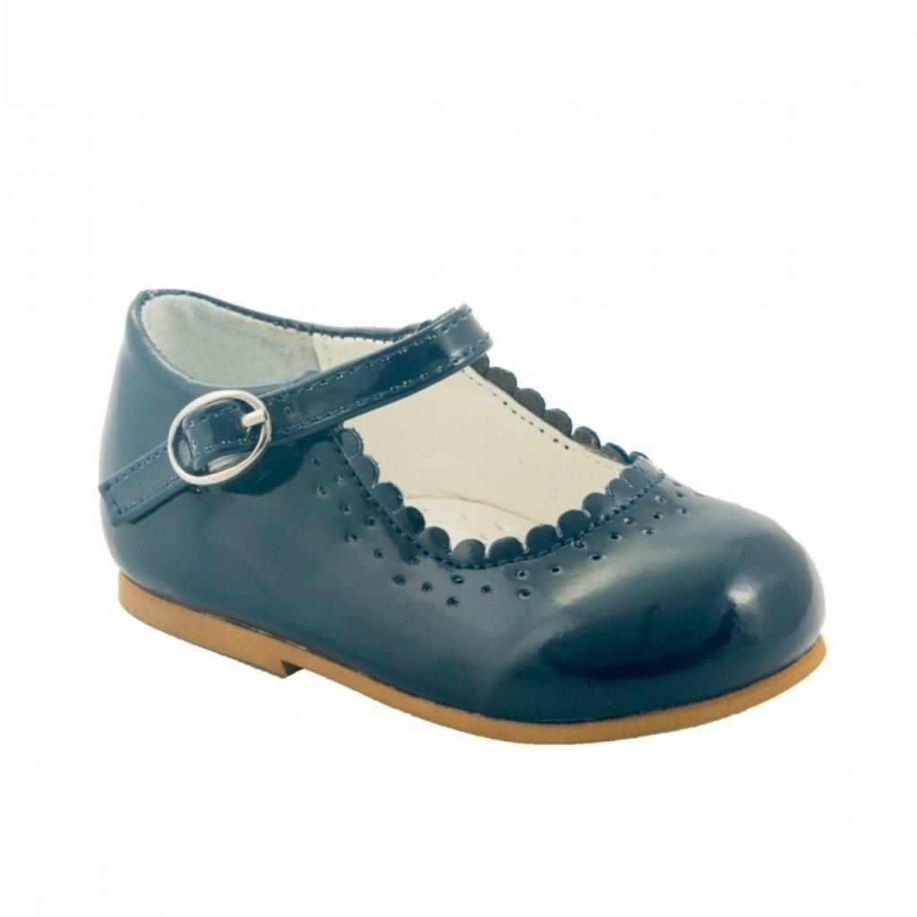 sevva Baby Infant Girls Patent rutschfeste Erste Walking Schuhe spanischen Stil Emma weiß marineblau Schwarz Pink Rot Hochzeit Party