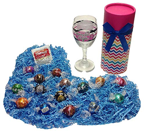 Humorous Promoted to Cougar Birthday Gift Box of Assorted Lindt Lindor Gourmet Truffles Gourmet Chocolate Candy, Wine Glass & Tylenol