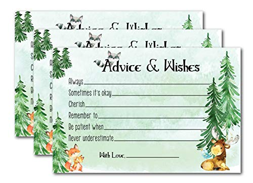 Woodland Creatures Baby Shower Games for Boys - 50 Advice Cards for Mommy with Forest Animals - Guest Book Alternative for Well Wishes and Predictions - Rustic Woodland Party Supplies and Decorations