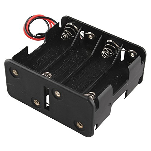HALJIA 12V 8 x AA Battery Clip Slot Holder Stack Box Case Double Deck / Back to Back 6 Inch Leads Wire