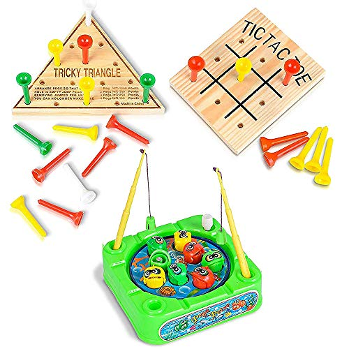 Gamie Travel Road Trip Games for Kids and Adults - 3 Pieces - Set Includes Mini Tic-Tac-Toe, Triangle Game, and Fishing Game - Fun Car, Airplane Traveling Games Kit