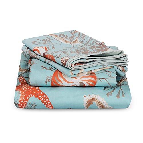 (Brandream King Size Luxury Nautical Bedding Coastal Beach Themed Sheets Set 100% Cotton Bed Sheet Set Deep Pocket 4Pcs Fitted Sheet Flat Sheet Pillowcases Set 800TC)