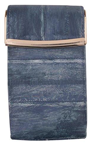 Eel Skin Genuine Leather Sliding Cigarette Case Wallet (Washed Grey)