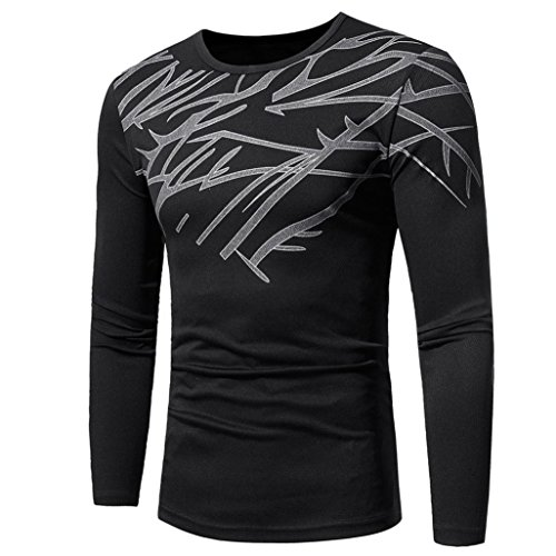 Realdo Long Sleeve T-Shirt for Men, Fashion Casual Slim Solid Print Crewneck Pullover Shirt Top(Black,Large)