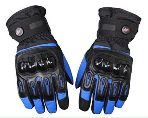 Waterproof Motorcycle Gloves Full Finger Gloves For Motorcycle Biker Riding Powersports Outdoor Racing Hard Plastic Knuckle (M, Blue)