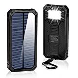 GRDE Solar Charger 15000mAh, BESWILL Portable Dual USB Solar Battery Charger External Battery Pack Phone Charger Power Bank with Flashlight for Smartphones Tablet Camera (Black)