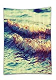 Chaoran Tablecloth Teal Decor Ocean Waves Foam Clean Sea Ocean Love Sailing Art Print Home Coastal Nautical Decor Bathroom Decoration Ideas with Hooks Turquoise Fabric Dark Gold Holiday Home Decorativ