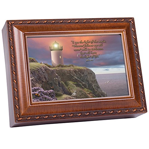 Cottage Garden I Am The Light Lighthouse Scene Wood Finish Jewelry Music Box Plays We Have a Friend in Jesus