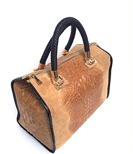 Camoscio Borsa Modello In stampa Coccodrillo Italy Pelle cognac Bauletto Made Croco Vera Superflybags Isa In wBqwXf