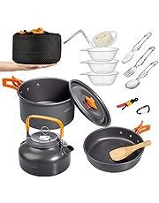 Aitsite Camping Cookware Kit Outdoor Aluminum Lightweight Camping Pot Pan