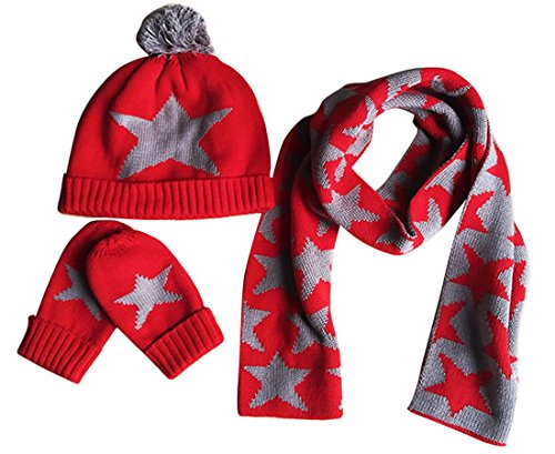 Happy Cherry 3PCS Baby Kids Fashion Star Beanie Knitted Hat Cap+Scarf+Gloves Set 2-3T, Red ()