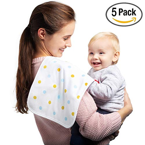 Premium Limited Edition Organic Baby Burp Cloths 5-Pack | Soft & Absorbent Unisex Cotton Burping Clothes for Boys & Girls | 200GSM Thick & Large Spit Up Rags