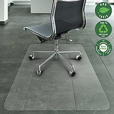 Office Marshal Chair Mat Hard Floors   Eco-Friendly Series Chair Floor Protector   100% Recycled (PET) Floor Mat Office Home Use   Multiple Sizes   Translucent