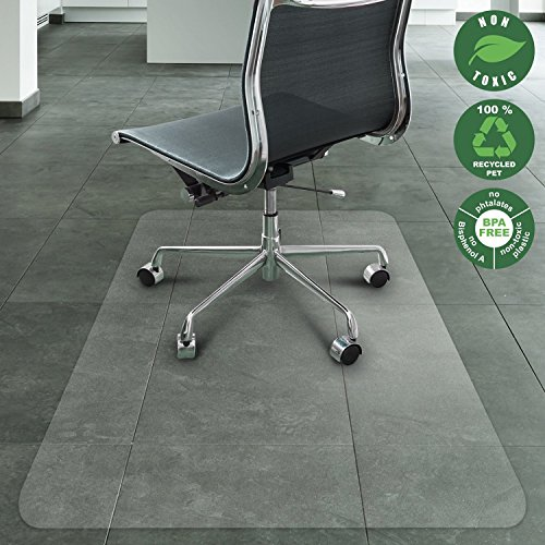 Office Marshal Chair Mat for Hard Floors | Eco-Friendly Series Chair Floor Protector | 100% Recycled (PET) Floor Mat for Office or Home Use | Multiple Sizes | Translucent - 40'' x 48'' - 40' Series
