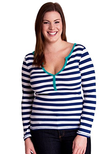 Royal Blue White Ladies Plus Size Striped Ribbed 4 Button Henley Shirt