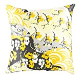 20'' Dream Nursery Lemon Yellow, Black and White Decorative Square Throw Pillow - Down Filler