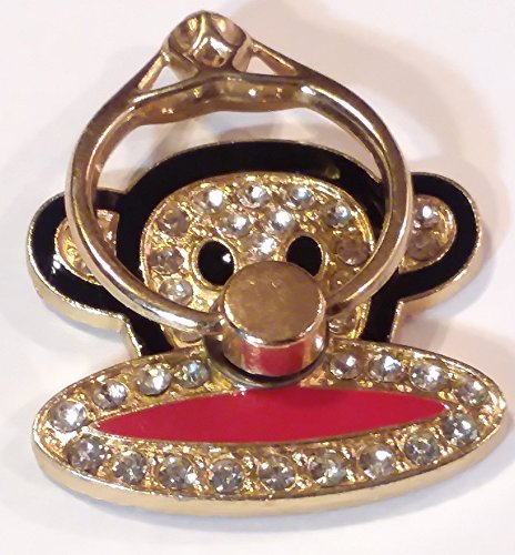 Cute Monkey Phone Ring Holder (Black) Diamond Monkey
