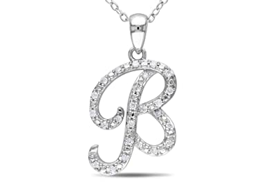 93f29b271 Image Unavailable. Image not available for. Colour  Kiara Women s Silver   B  Alphabet Design American Diamond Pendant ...