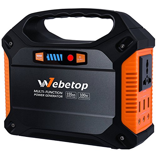 Webetop 155Wh 42000mAh Portable Power Rechargeable Inverter Battery Generator 100W Camping Emergency Home Use Source Charged by Solar Panel/Wall Car with 110V AC Outlet,3 DC 12V,3 USB Port