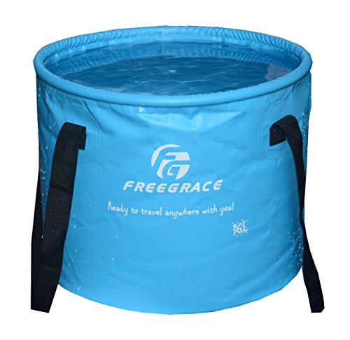 Freegrace Premium Collapsible Bucket -Multifunctional Folding Bucket -Perfect Gear for Camping, Hiking & Travel (Blue, 16L)
