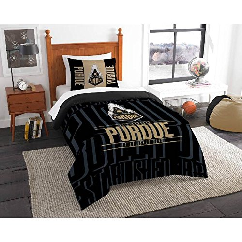 2 Piece NCAA Purdue Boilermakers Twin Comforter Set, Black, Sports Patterned Bedding, Featuring Team Logo, Purdue Merchandise, Team Spirit, College Football Themed, Polyester Material