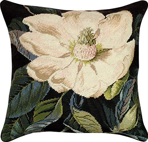 (EuroLuxHome Throw Pillow Needlepoint Magnolia 18x18 Wool Cotton Velvet Backing Polly )
