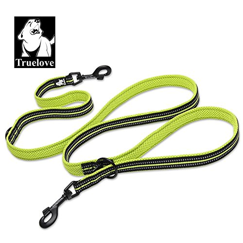 truelove-sit-stay-tethering-multi-fuction-dog-leash-adjustable-reflective-hands-free-m-lime-green