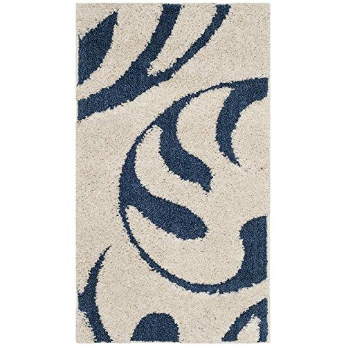 (Safavieh Florida Shag Collection SG468-1165 Cream and Blue Area Rug 4 Inches (2' x 3'4