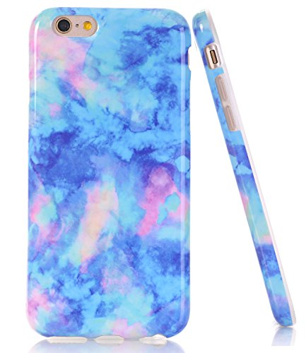 Iphone Blue Silicone Skin - iPhone 6 Plus Case, iPhone 6s Plus Light Blue Marble, BAISRKE Slim Flexible Soft Silicone Bumper Shockproof Gel TPU Rubber Glossy Skin Cover Case for Apple iPhone 6 Plus & 6s Plus