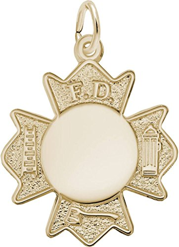 Yellow Gold Fire Department Badge Charm