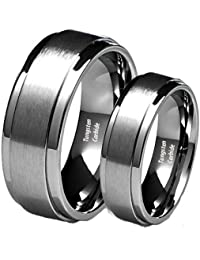 his hers 8mm6mm brushed center step edge tungsten carbide wedding band ring set - Tungsten Wedding Ring Sets