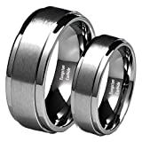 His & Her's 8MM/6MM Brushed Center Step Edge Tungsten Carbide Wedding Band Ring Set Ladies Size 9 - Mens Size 10.5
