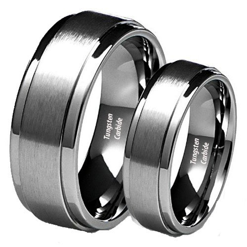His & Her's 8MM/6MM Brushed Center Step Edge Tungsten Carbide Wedding Band Ring Set (Available Sizes 5-14 Including Half Sizes) Ladies Size 7.5 – Mens Size 7