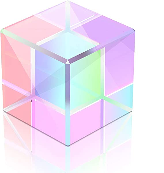 Educational Toys Gift for Christmas Halloween Physics and Decoration FASESH CMY Optic Prism Cube Education Optical Glass X-Cube Prism RGB Dispersion Prism for Teaching Light Photography