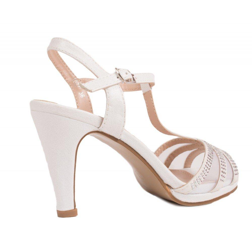 ebf88b0a5ede3c Escarpins Mariage à Strass Bout Ouvert Petit Talon 6 cm ,Blanc ,40 EU:  Amazon.fr: Chaussures et Sacs