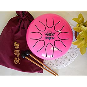 WuYou 8in UFO Pink Steel tongue drum, Lotus symble drum, Handpan, FREE Mallets and Bag 10