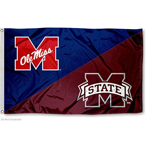 College Flags and Banners Co. MSU vs. Ole Miss House Divided 3x5 Flag
