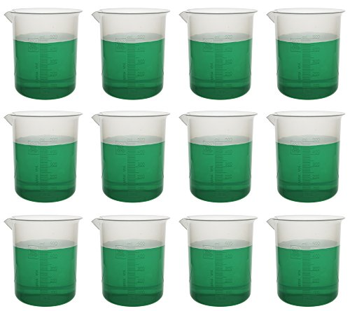 500mL Plastic Beaker; 10ml Graduations; Premium Polypropylene, Pack of 12 by EISCO