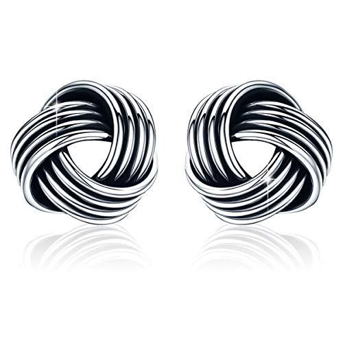 (SIMPLOVE 925 Sterling Silver Love Knot Stud Earrings, Retro Style Weave Push-back Twisted Stud Earring for Women,7mm)