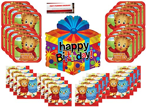 Daniel Tiger Neighborhood Happy Birthday Party Supplies Bundle Pack for 16 guests (Bonus 18 Inch Balloon Plus Party Planning Checklist by Mikes Super Store)