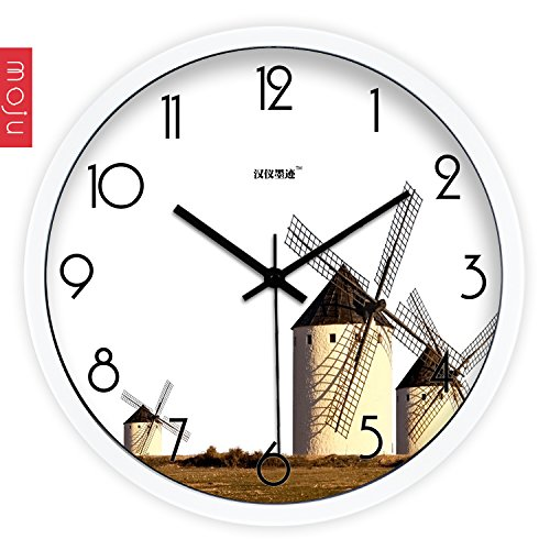 Znzbzt Simple Creative Mute Wall Clock Hon-yee Ink Wall Clock Creative Arts, Modern Minimalist Windmills Sitting Mute Clock Quartz Clock, 12 inch, White
