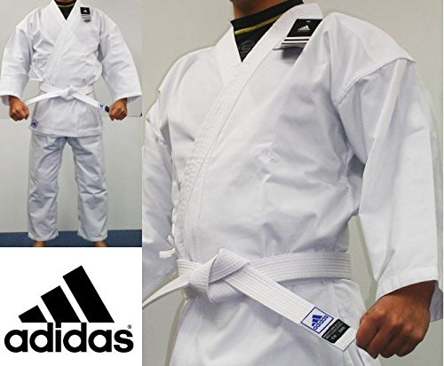 adidas Student Karate Uniform/Gi 8oz with Free Belt (White, 3 - (5.4