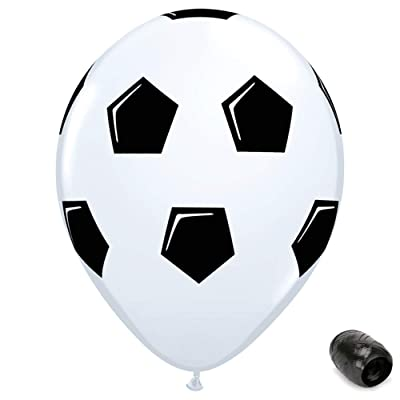 "10 Pack 11"" Soccer Ball Latex Balloons with Matching Ribbons: Toys & Games"